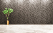 Empty room interior background, houseplant on the parquet floor over black wall 3d rendering