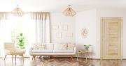 Modern interior design of living room with sofa,armchair, wooden door and window panorama 3d rendering