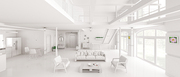 Interior design of white loft apartment, living room, hall, kitchen, staircase, panorama 3d rendering