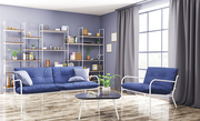 Home interior of modern living room with sofa and armchair 3d rendering