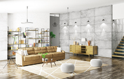 Home interior of modern apartment, living room, hall 3d rendering