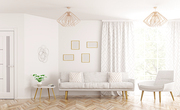 Modern interior design of living room with sofa,armchair, white door and window 3d rendering