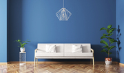 Modern interior design of living room with white sofa, plants and lamp over blue wall 3d rendering