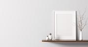 White frame on the shelf interior background 3d rendering