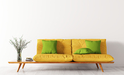 Modern interior of living room with yellow sofa and green cushions, vase with flower branch 3d rendering