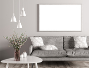 Modern interior of living room with grey sofa, white coffee table and mock up poster on the wall 3d rendering