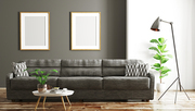 Modern interior design of living room with black sofa and mock up frames 3d rendering