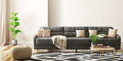 Modern interior of living room with black sofa, knitted pouf and coffee table 3d rendering