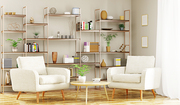 Home interior of modern living room with armchairs 3d rendering