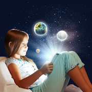 Girl sitting in bed and playing with tablet pc. Elements of this image are furnished by NASA