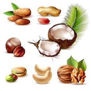 Nuts realistic set with hazelnut, peanut, cashew, walnut, pistachio, coconut, almond and green leaves isolated vector illustration