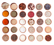 Various spices in wood bowl isolated on white. Big set