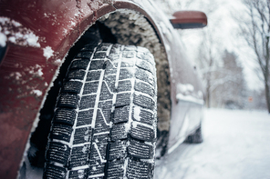 All-season tyre or mud and snow tire, closeup on protector