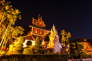 Night view buddhist temple in Chiang Mai, Northern Thailand.