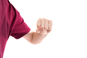 Man in t-shirt with clenched fist isoalted on white background
