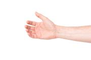 Hand holding something isolated on white background