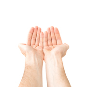 Two open hands giving something isolated on white background