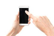 Hands touching smartphone with black screen isolated on white background