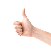 Like hand with thumb up isolated on white background