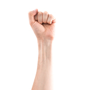 Hand with clenched fist isolated on white background