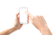 Hands touching smartphone with white screen isolated on white background