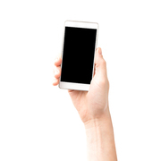 Hand holding smartphone with black screen isolated on white background