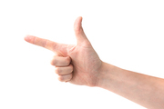Female hand with finger pointing left isolated on white background