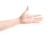 Hand for handshake isolated on white background