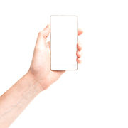 Hand holding white smartphone with isolated white background screen