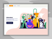 Science lab flat landing page of site with menu, image of chemical experiment, light background vector illustration