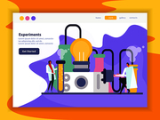 Science lab landing page with test and experiment symbols flat vector illustration