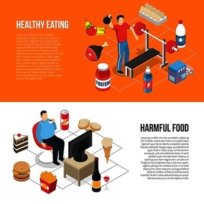 Healthy diet and exercising vs unhealthy junk food tv watching 2 isometric lifestyle banners isolated vector illustration
