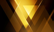 Vector color abstract geometric banner with gold triangle shapes.