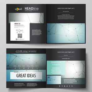 Business templates for square design bi fold brochure, magazine, flyer, booklet or annual report. Leaflet cover, abstract flat layout, easy editable vector. Geometric background, connected line and dots. Molecular structure. Scientific, medical, technology concept.
