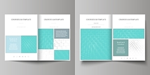 Business templates for bi fold brochure, magazine, flyer, booklet or annual report. Cover design template, easy editable vector, abstract flat layout in A4 size. Chemistry pattern, hexagonal molecule structure on blue. Medicine, science and technology concept.