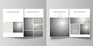 Business templates for bi fold brochure, magazine, flyer, booklet or annual report. Cover design template, easy editable vector, abstract flat layout in A4 size. Chemistry pattern, molecule structure on gray background. Science and technology concept.