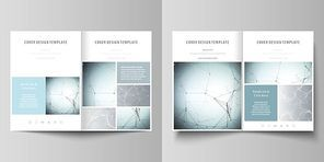 Business templates for bi fold brochure, magazine, flyer, booklet or annual report. Cover design template, easy editable vector, abstract flat layout in A4 size. Chemistry pattern, connecting lines and dots, molecule structure, scientific medical DNA research.