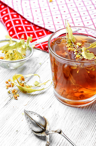 Remedy for cold-tea with dry Linden,honey and lemon