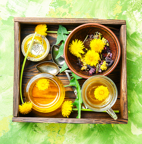 Honey from a blooming spring dandelion and cup of tea