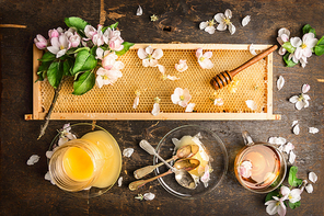 honeycomb with wooden dipper and fresh blossom,  jar with honey and plate with vintage spoons on dark rustic background, top view