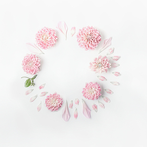 Round frame of pastel pink flowers and petals on white desk background. Floral wreath. Layout for holidays greeting of Mothers day, birthday, wedding or happy event
