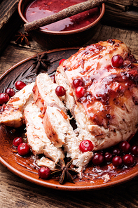 Grilled healthy chicken breasts with cranberry sauce