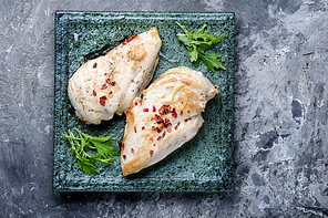 Baked chicken breast stuffed with spinach.Grilled chicken breast