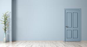 Empty room interior background, door over blue wall and vase with flower branch 3d rendering