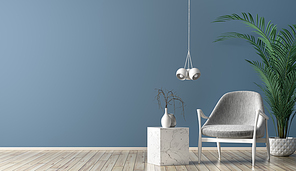 Interior of living room with marble coffee table, white lamp and gray armchair against blue wall with copy space 3d rendering