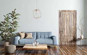 Modern interior design of living room with blue sofa, wooden coffee table, door 3d rendering