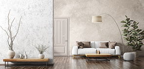 Modern interior of living room with white sofa, coffee table, stucco wall panorama 3d rendering