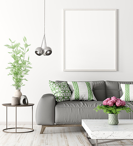 Modern interior of living room with grey sofa, coffee table and mock up poster on the wall 3d rendering