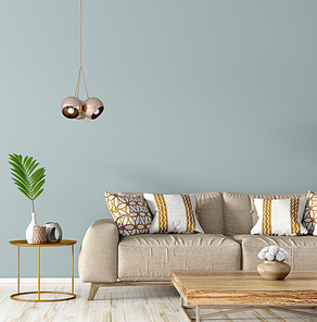 Modern interior of living room with beige sofa, coffee table against blue wall with copy space 3d rendering