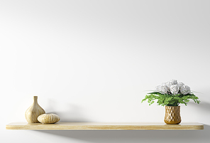 Yellow wooden shelf with bouquet of white roses in copper vase over white wall, home decor, interior background 3d rendering